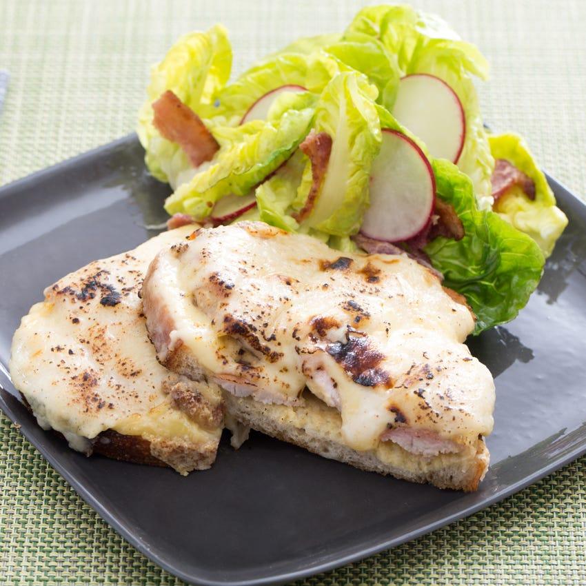 Croque Monsieur-Style Sandwiches with Bacon, Radish & Little Gem Lettuce Salad