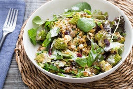 Moroccan-Spiced Heirloom Cauliflower Salad with Marcona Almonds & Creamy Lemon Dressing