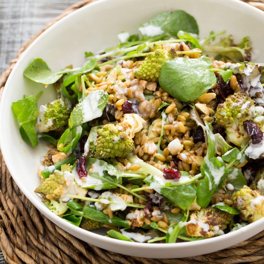 Moroccan-Spiced Heirloom Cauliflower Salad with Marcona Almonds & Creamy Lemon Dressing