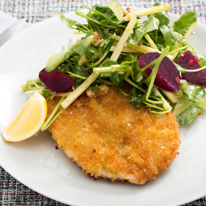 Chicken Schnitzel with Watercress, Apple, Beet & Red Walnut Salad
