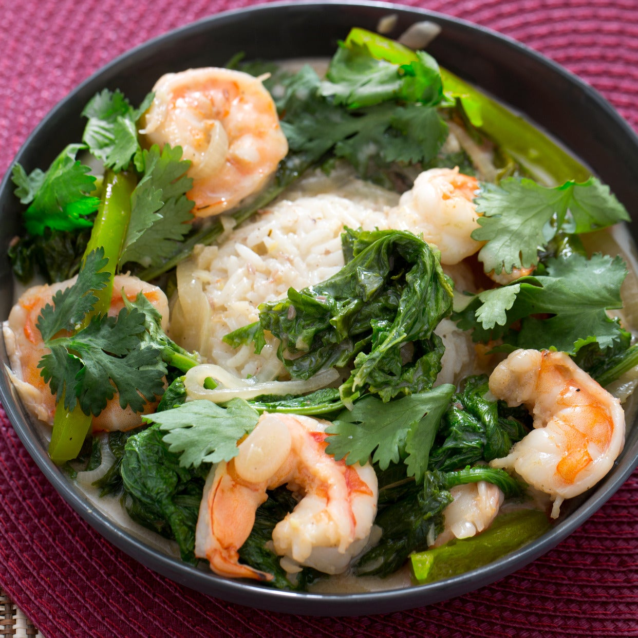 Shrimp & Mustard Green Laing with Jasmine Rice