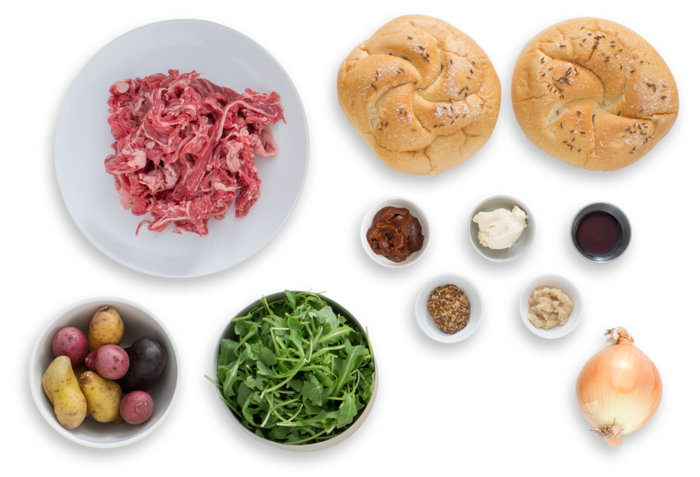 Beef on Weck Sandwiches with Heirloom Potato Salad ingredients
