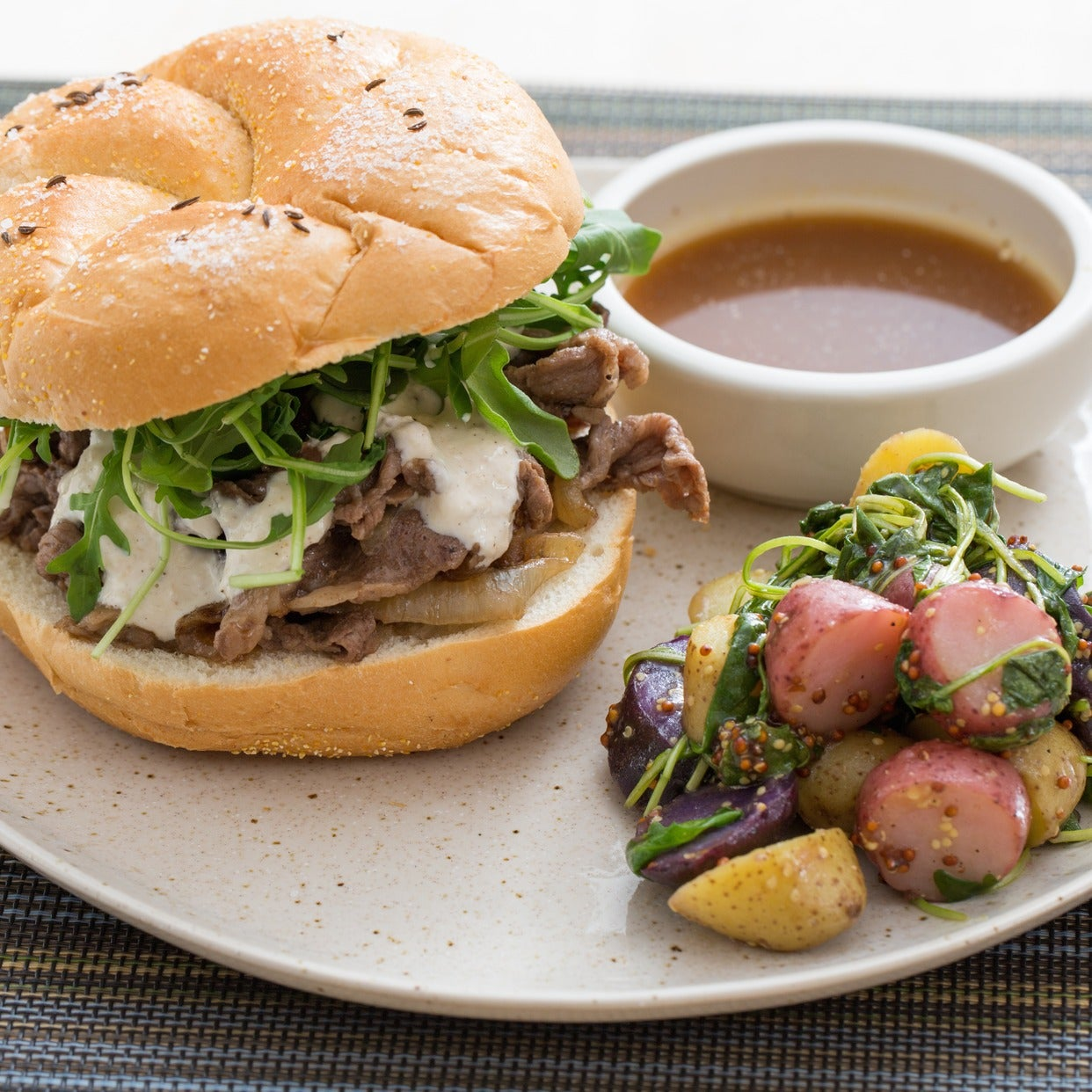 Beef on Weck Sandwiches with Heirloom Potato Salad