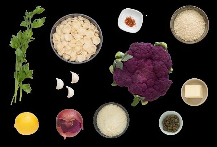 Orecchiette Pasta with Roasted Cauliflower, Capers & Garlic Breadcrumbs