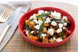 Butternut Squash & Brussels Sprout Hash with Chestnuts, Apple, Goat Cheese & Crispy Sage