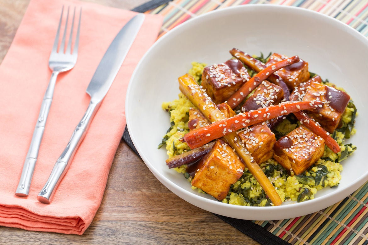 BBQ Tofu & Sorghum-Glazed Heirloom Carrots with Creamy Collard Green & Millet Pilaf