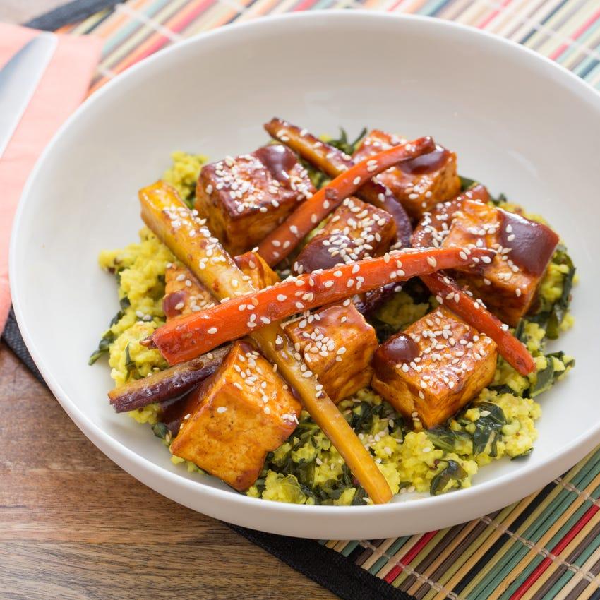 BBQ Tofu & Sorghum-Glazed Heirloom Carrots with Creamy Collard Green & Millet Pilaf