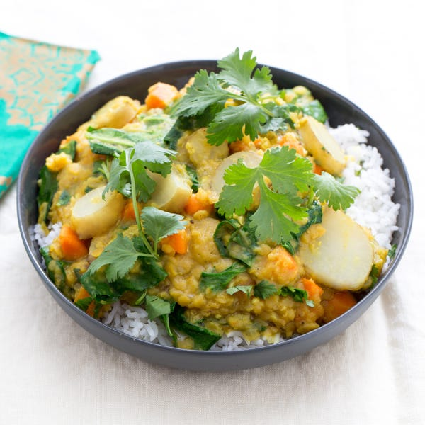 Red Lentil Dal with Sunchokes & Basmati Rice