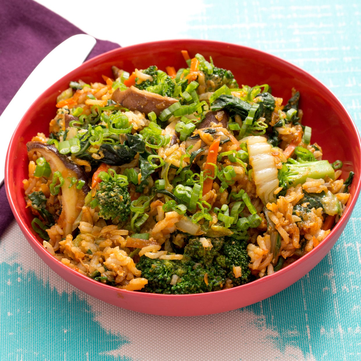 Cabbage & Chard Fried Rice with Sweet Potato & Shiitake Mushrooms