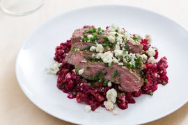 Basted Flank Steaks with Beet-Freekeh Salad & Gorgonzola