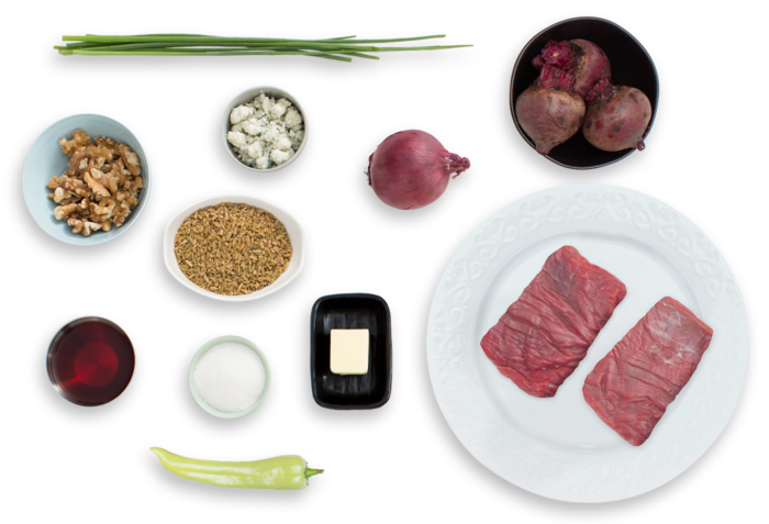 Basted Flank Steaks with Beet-Freekeh Salad & Gorgonzola ingredients