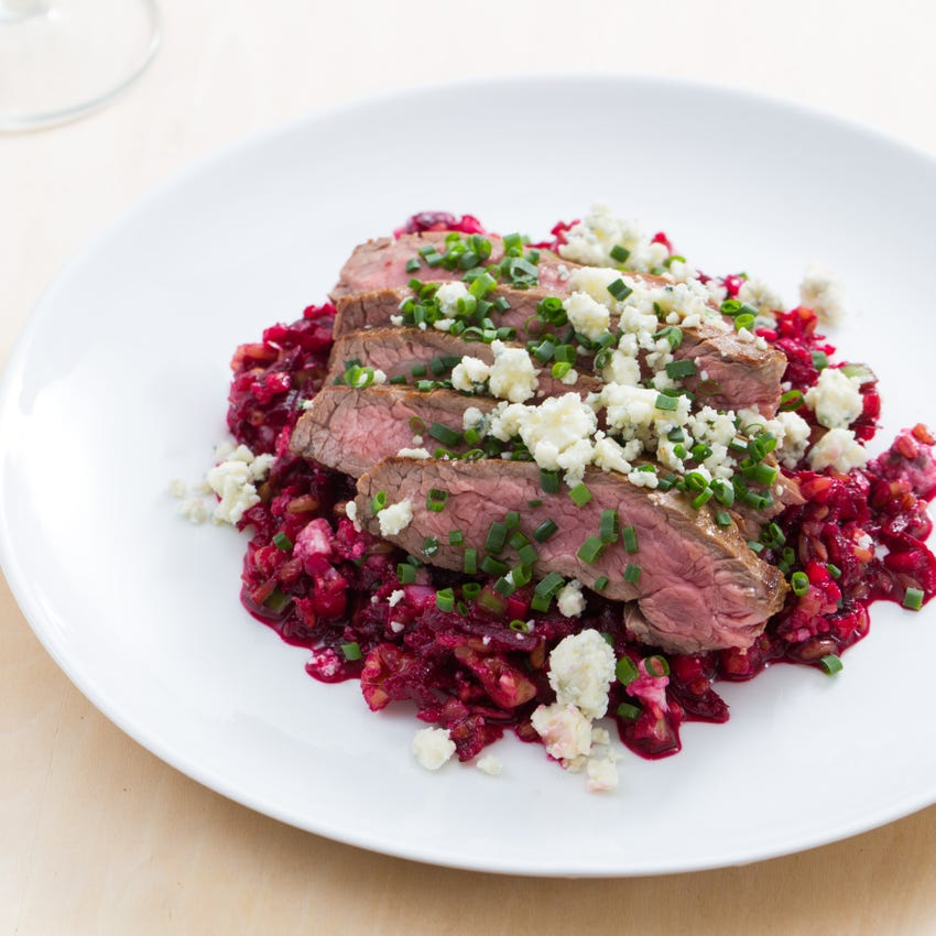 Basted Flank Steaks with Beet-Freekeh Salad & Gorgonzola