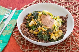 Braised Moroccan-Style Salmon & Greens with Quick-Preserved Lemon, Pine Nuts & Red Quinoa
