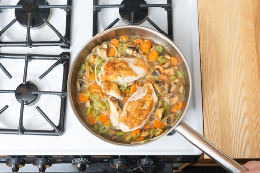 Stew the chicken & vegetables: