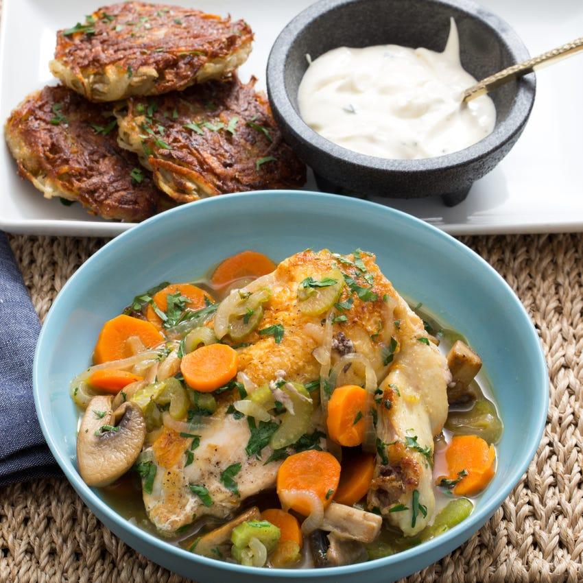 Stewed Chicken with Potato Latkes & Crème Fraîche