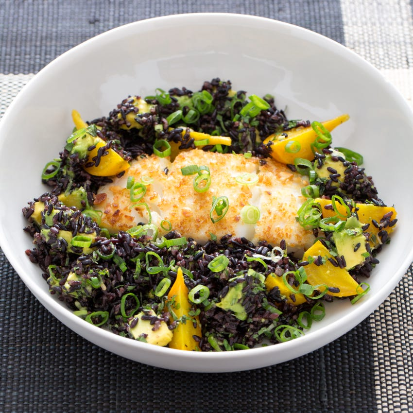 Macadamia-Crusted Cod with Black Rice, Golden Beet & Avocado Salad