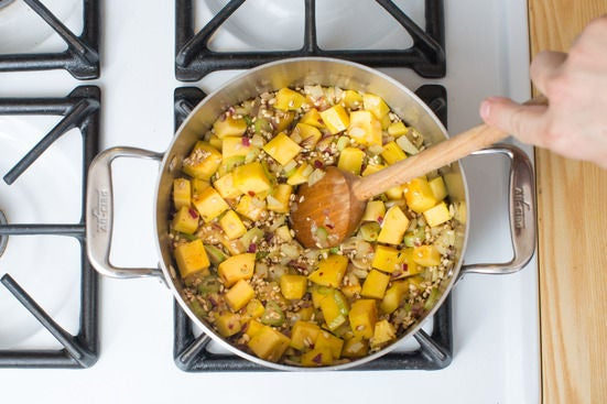 Add the barley & squash: