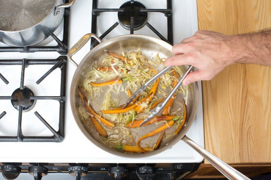 Cook the carrots & leek: