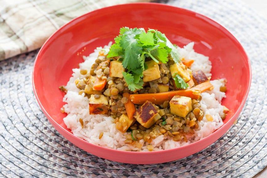 Curried Green Lentils & Paneer over Basmati Rice