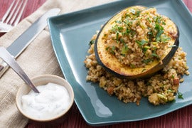 Roasted Acorn Squash  with Moroccan-Spiced Bulgur, Date Molasses & Almonds