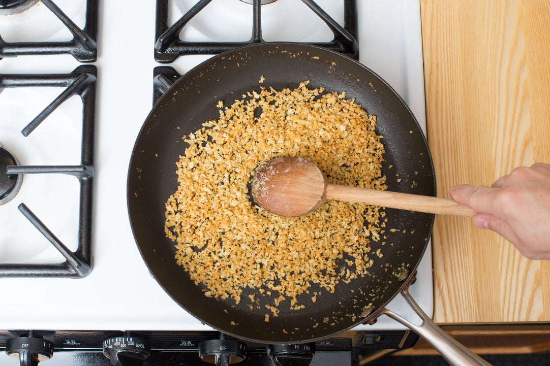 Toast the breadcrumbs & finish your dish: