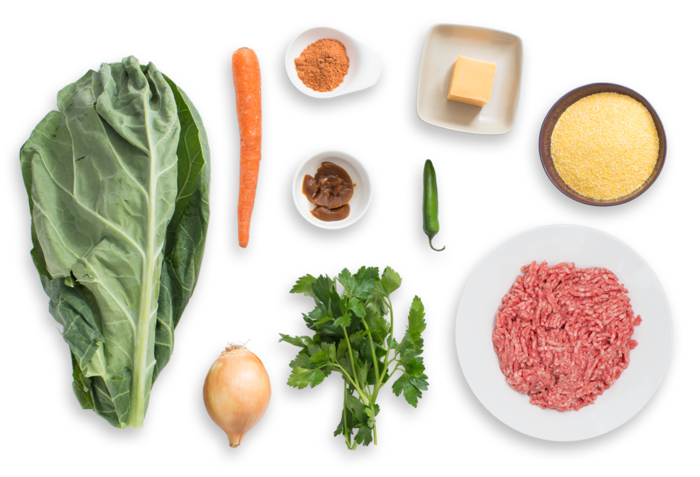 Southern Beef & Collard Green Stew with Cheddar Grits ingredients