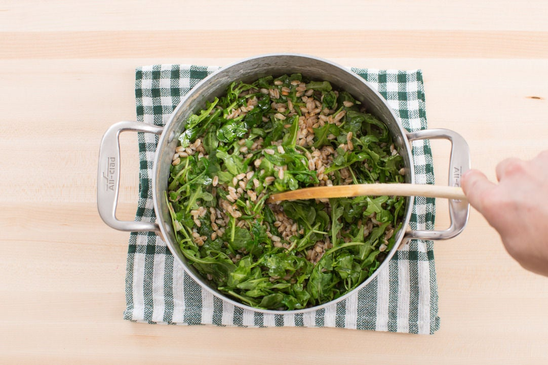 Cook the farro & add the arugula: