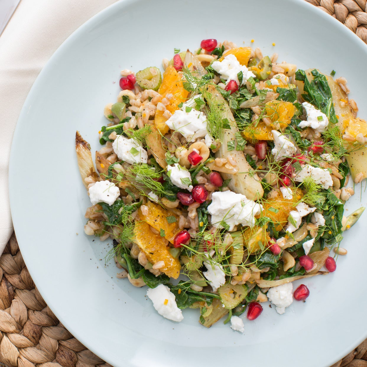 Warm Farro Salad with Seared Fennel & Pomegranate