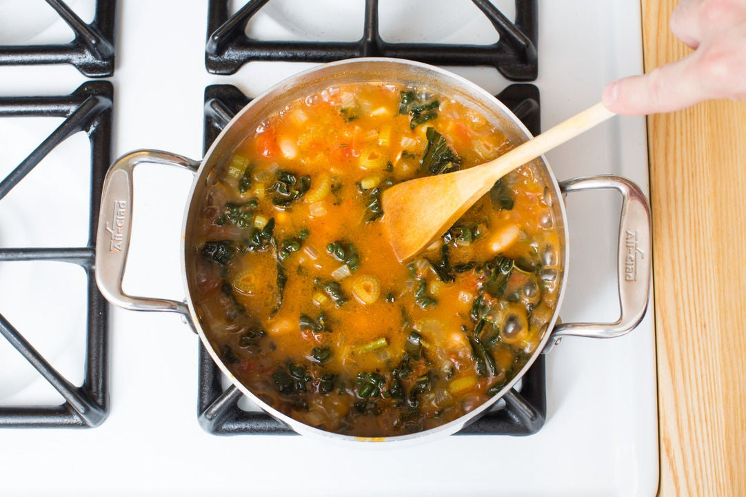 Add the kale, tomatoes & beans: