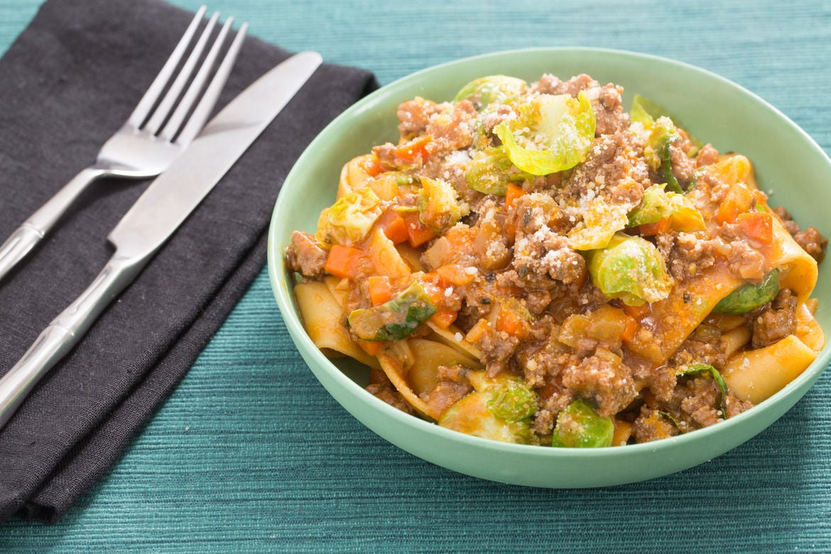 Beef Bolognese with Fresh Pappardelle Pasta & Brussels Sprouts