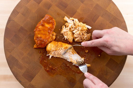 Shred the chicken: