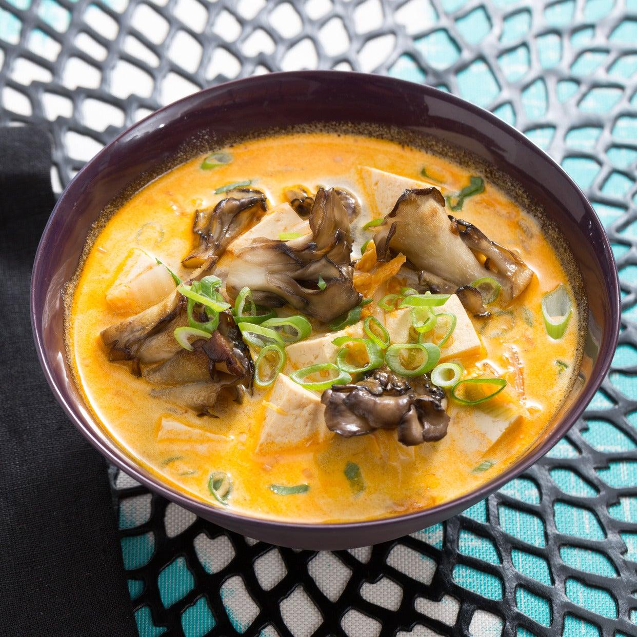 Vegetarian Tom Yum Soup with Napa Cabbage & Tofu