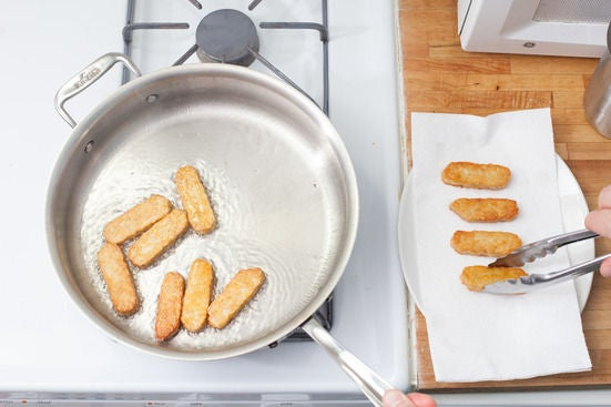 Pan-fry the tempeh: