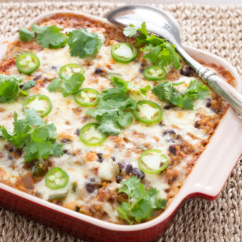 """Mexican-Style """"Rice"""" & Beef Casserole with Black Beans & Monterey Jack Cheese"""