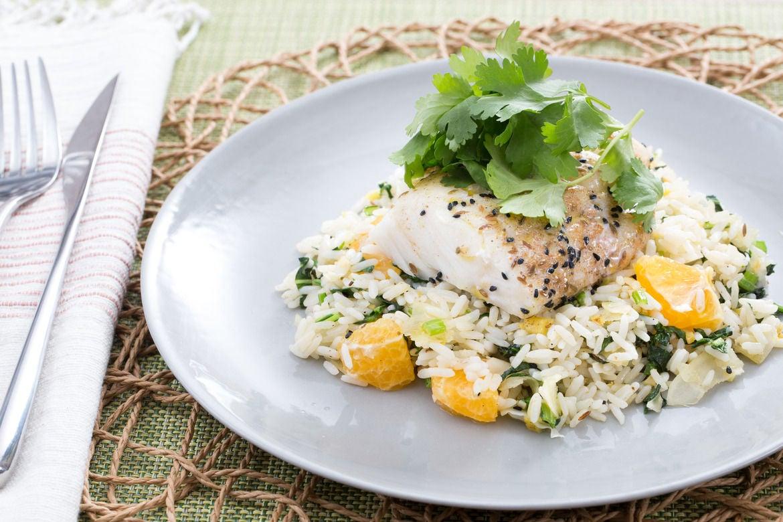 Banana Leaf-Steamed Cod with Spiced Rice, Yu Choy & Coconut