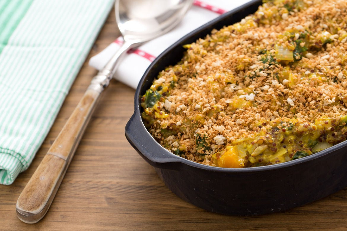 Cardamom-Spiced Butternut Squash Gratin with Kale & Toasted Almonds