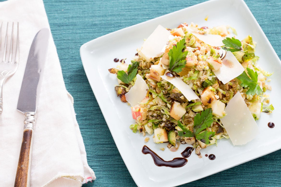 Roasted Brussels Sprout & Freekeh Salad with Pickled Raisins, Shaved Parmesan & Hazelnuts