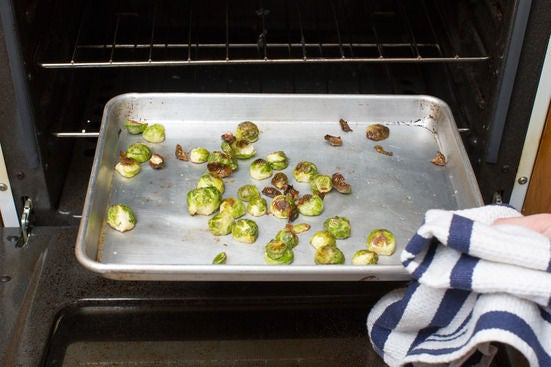 Roast half the Brussels sprouts: