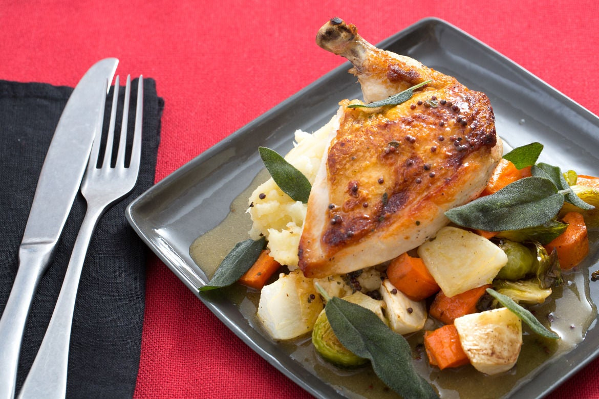 Chicken Charlemagne with Roasted Root Vegetables & Parsnip-Potato Mash