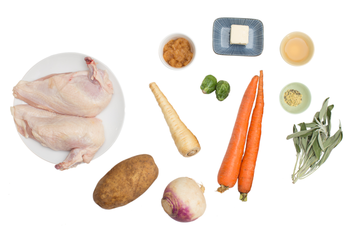 Chicken Charlemagne with Roasted Root Vegetables & Parsnip-Potato Mash ingredients