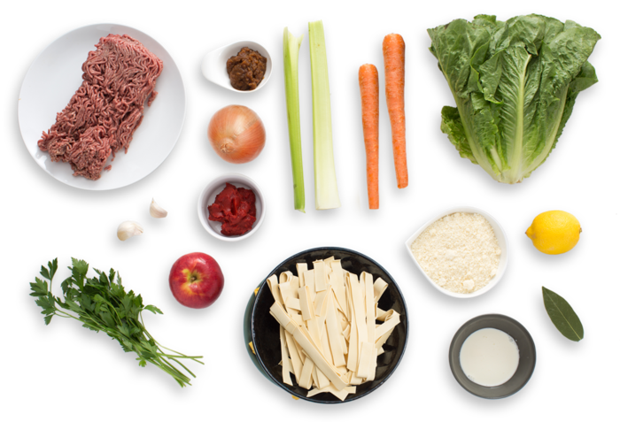 Fresh Pappardelle Bolognese  with Romaine & Apple Salad ingredients