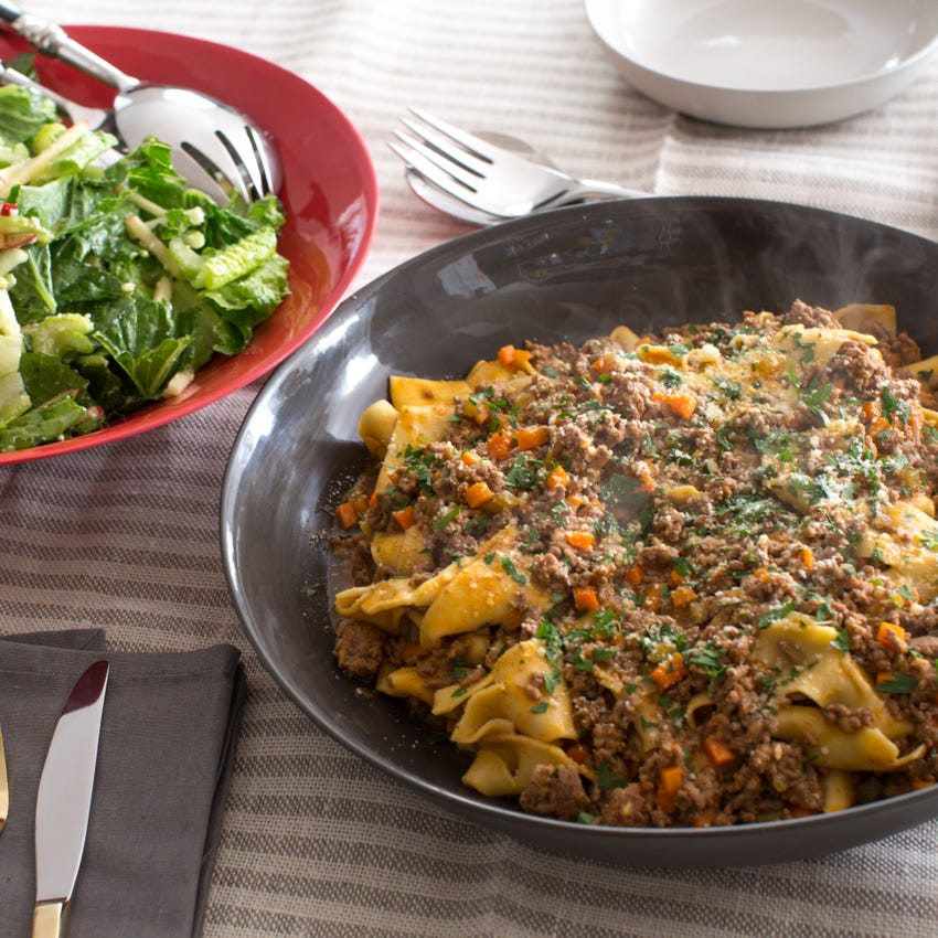 Fresh Pappardelle Bolognese with Romaine & Apple Salad