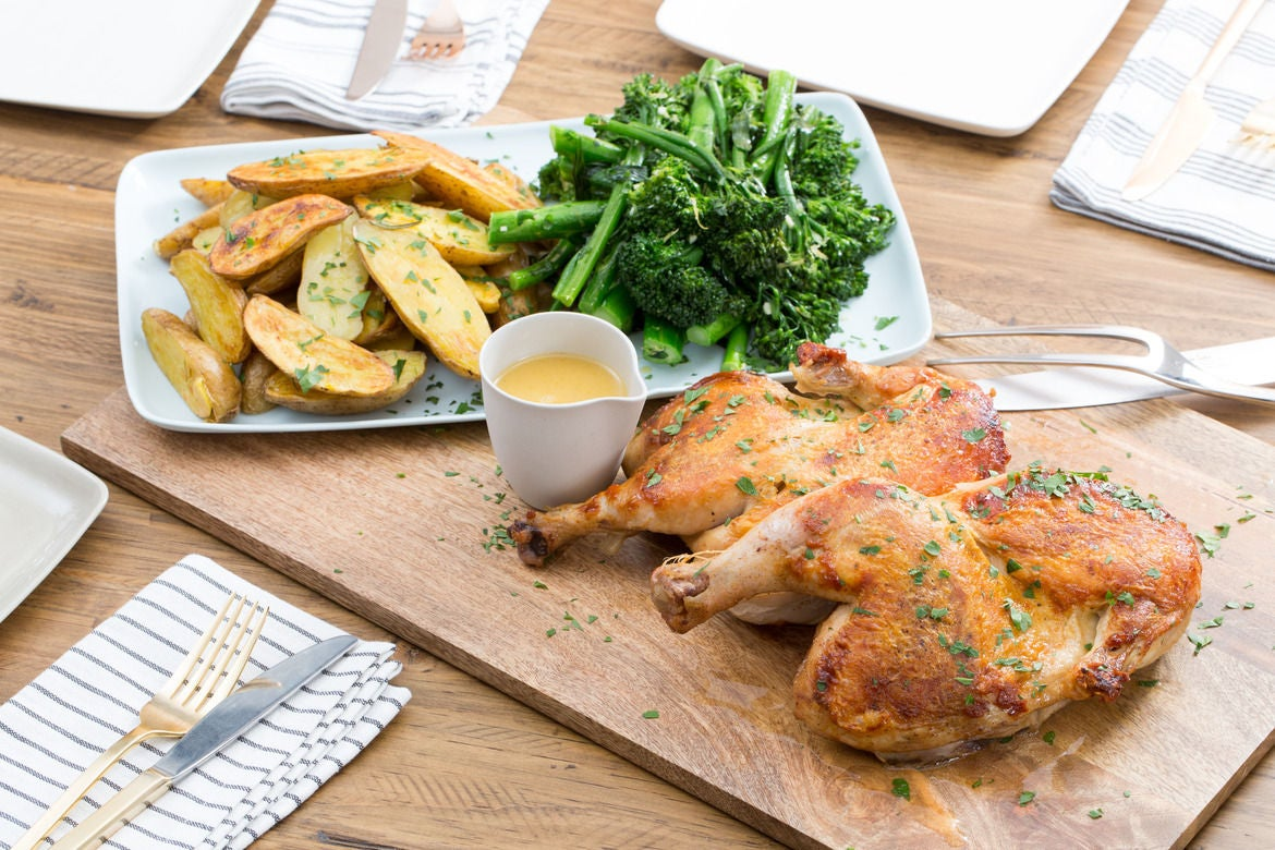 "Chicken under a ""Brick"" with Rosemary Roasted Potatoes & Broccolini"