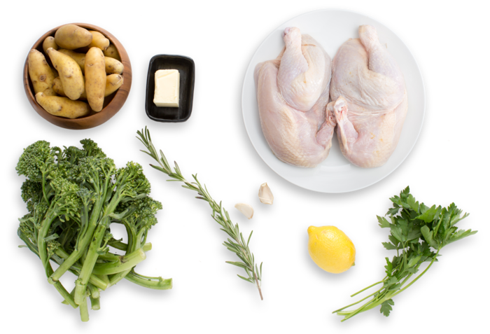"Chicken under a ""Brick"" with Rosemary Roasted Potatoes & Broccolini ingredients"