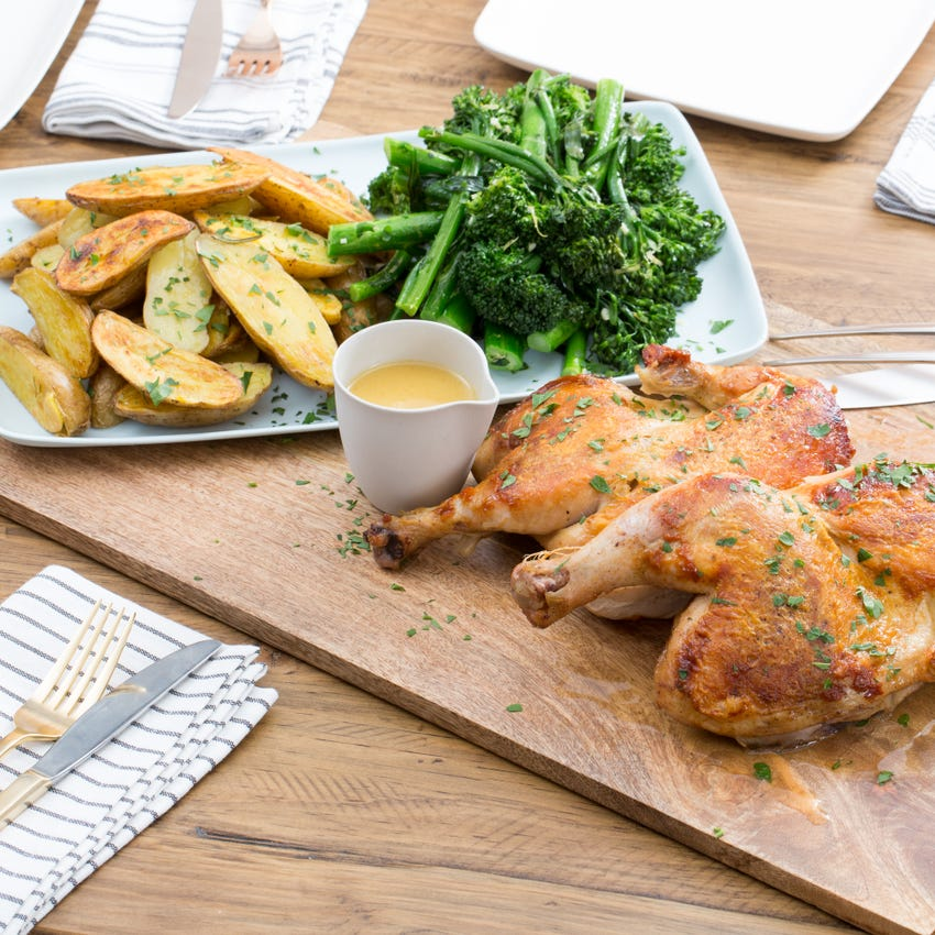 """Chicken under a """"Brick"""" with Rosemary Roasted Potatoes & Broccolini"""