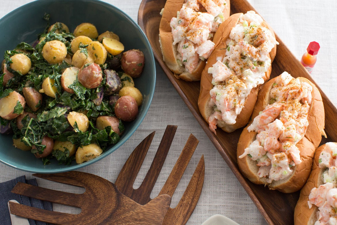 New England-Style Shrimp Rolls with Warm Potato & Kale Salad