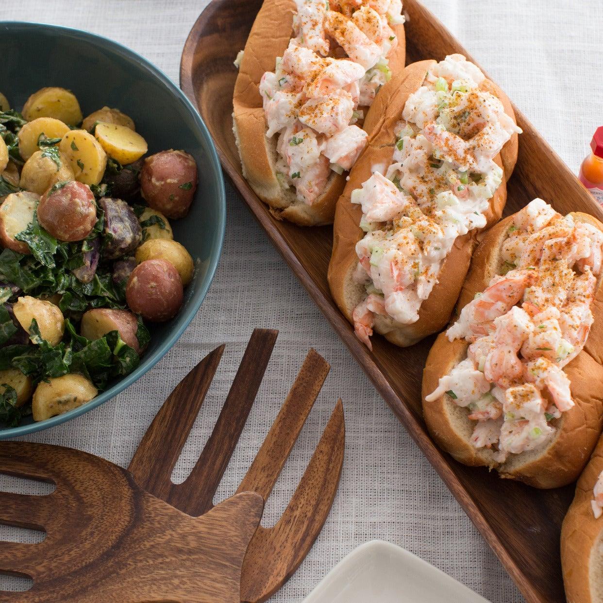 New England-Style Shrimp Rolls with Warm Potato & Kale Salad