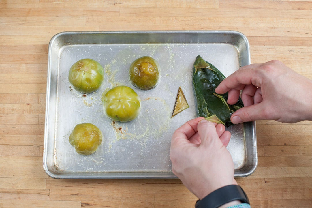 Roast the poblano pepper & tomatillos: