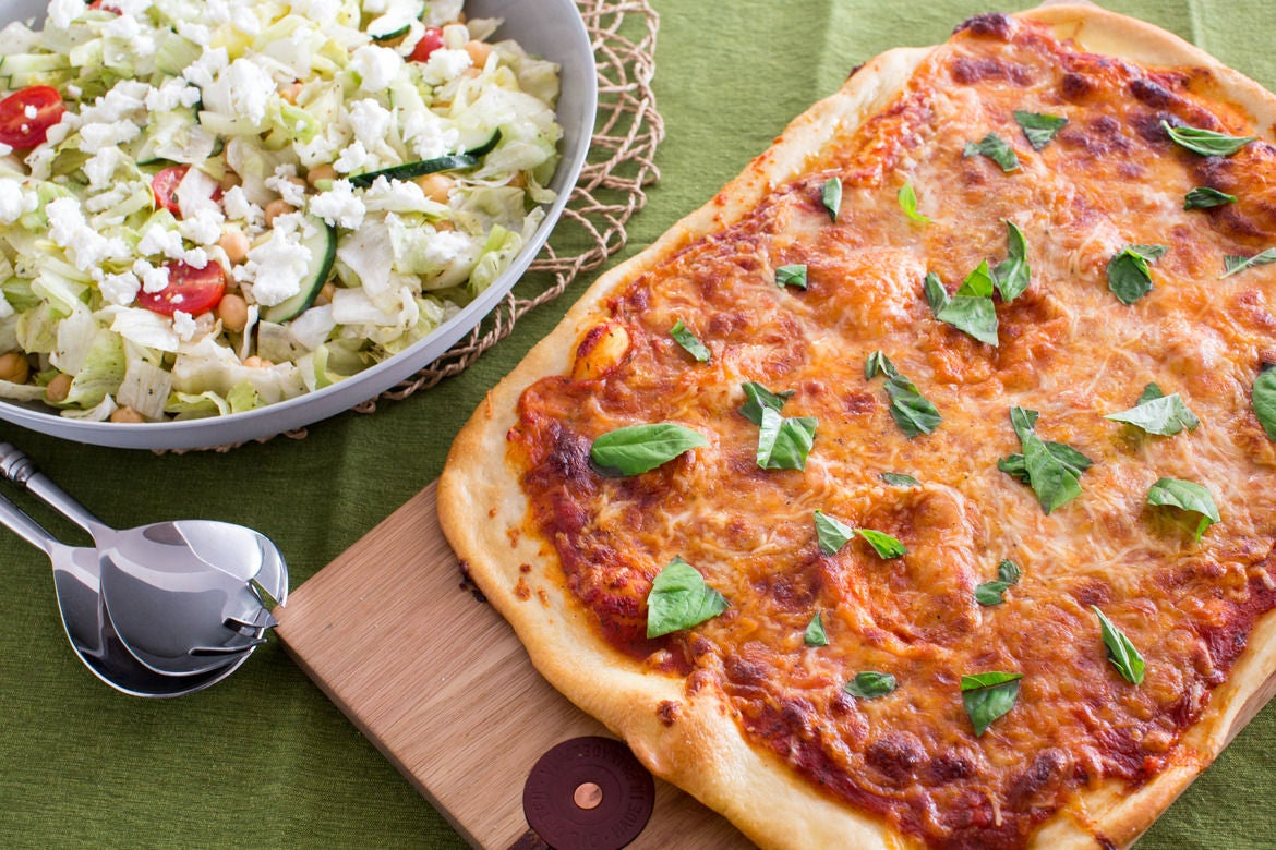 Two-Cheese Pizza with Iceberg Chopped Salad
