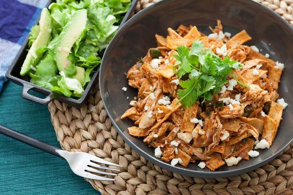 Chicken & Poblano Chilaquiles with Escarole & Avocado Salad